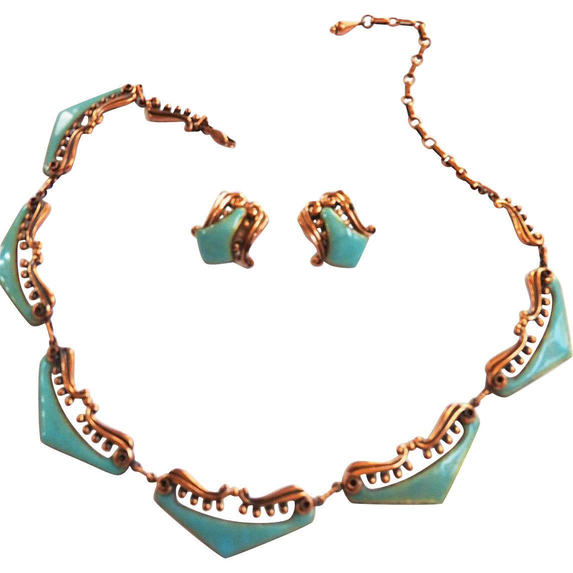 Gorgeous Matisse Copper and Enamel Necklace and Earrings