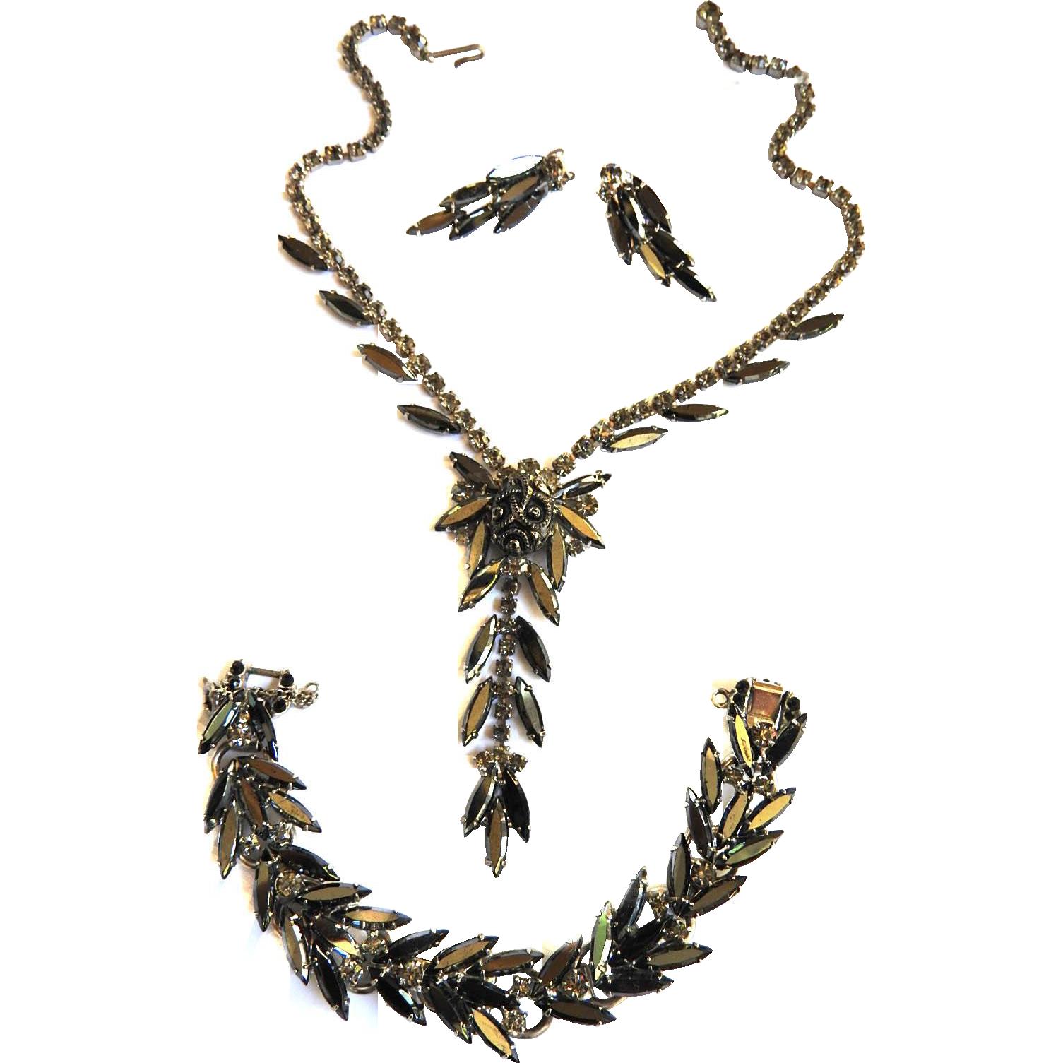Vintage Juliana Hematite Waterfall Necklace Bracelet and Earrings