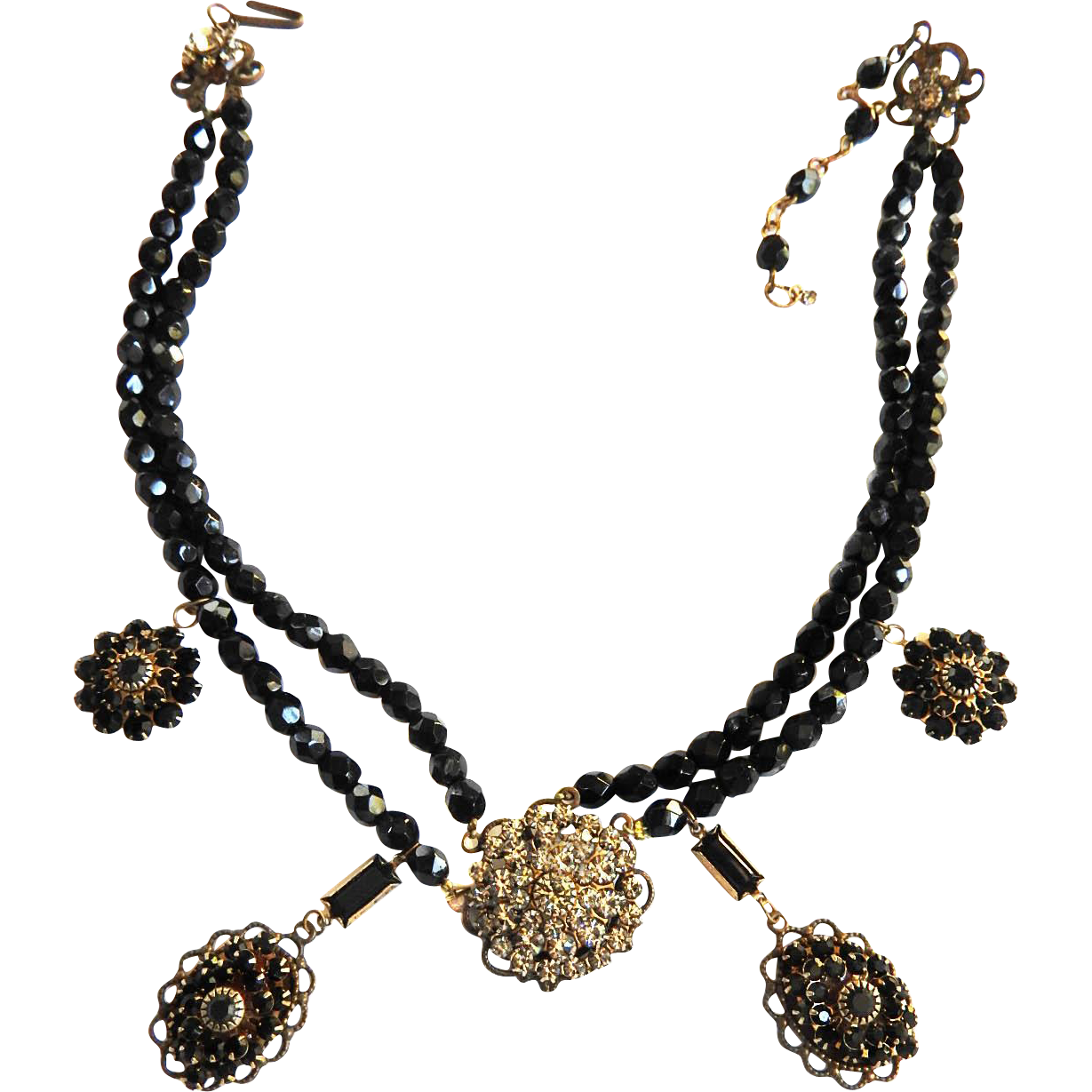 1940s Jet Black Crystal Drippy Necklace Must See