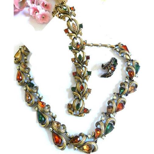 Fabulous Vintage 50s Autumn Colors Necklace Bracelet Earrings Designer