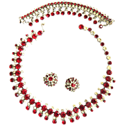 Fabulous Major Bling Kramer N.Y. Ruby Red Necklace with Drippy Bracelet and Earrings