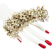 Old Hollywood Glamour Massive Designer 1940s Crystal Bracelet