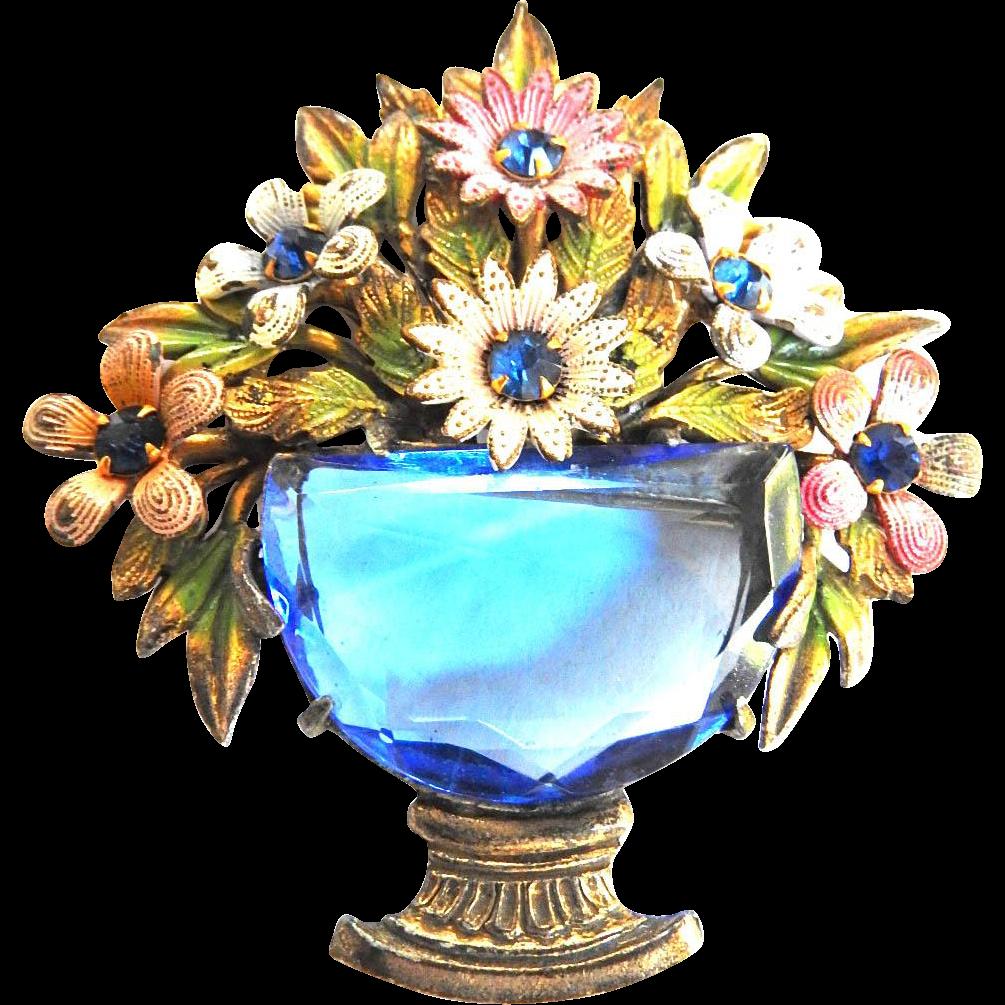 Very early 1900s Glass Flower Brooch