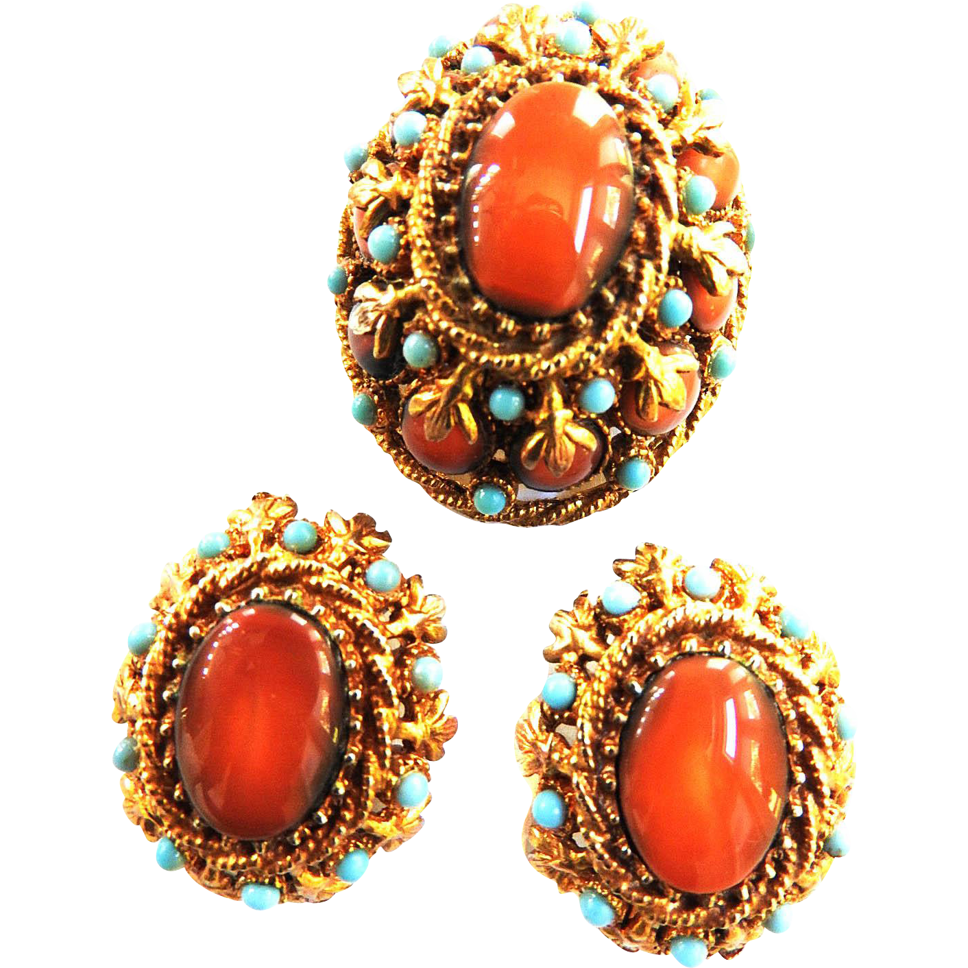 Sensational Har Chunky Brooch and Earrings 50s