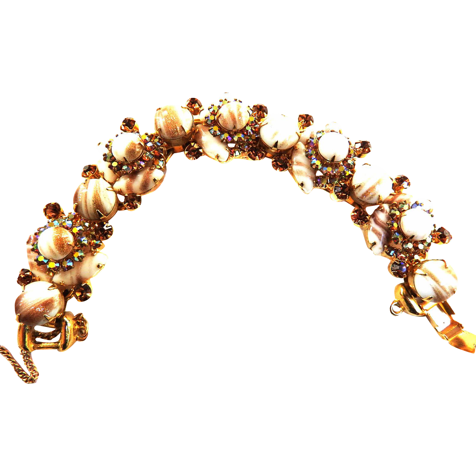 Juliana Fluss Copper 5 Link Cabochon Bracelet