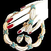 Gorgeous Trifari Crown Vintage Faux Turquoise and Enamel Parure