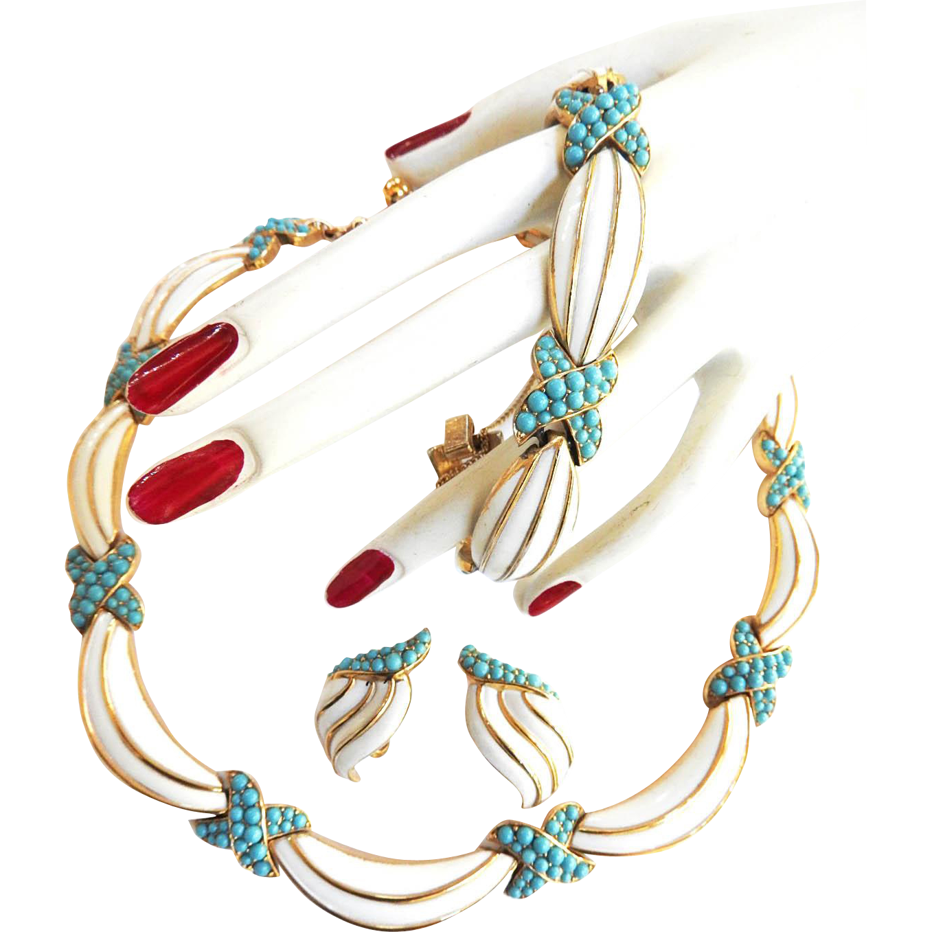 Gorgeous Trifari Crown Vintage Faux Turquoise and Enamel Parure