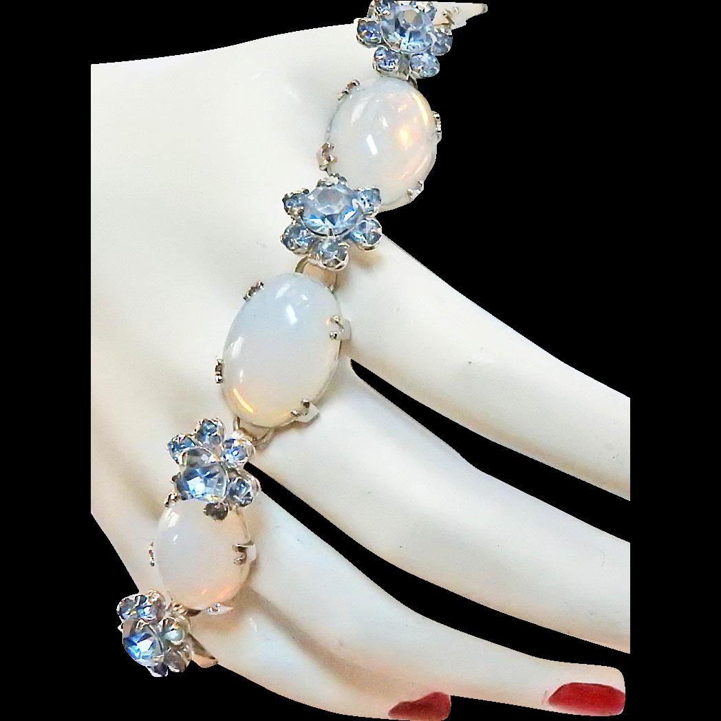 Vintage Hattie Carnegie Faux Opal and Baby Blue Rhinestones Bracelet