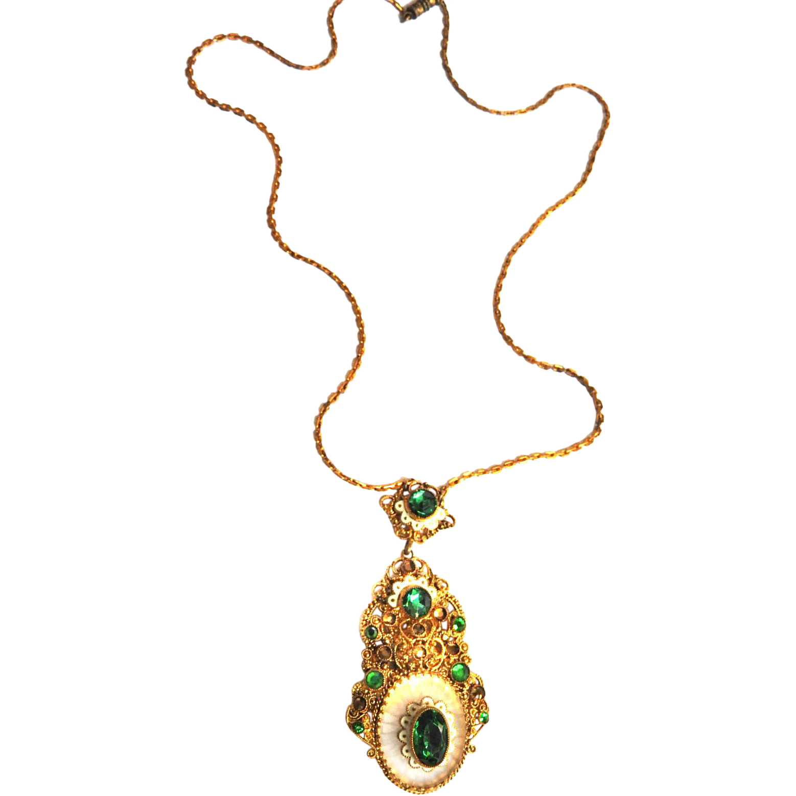 Fabulous 1930s Czech Emerald Green Pendant Necklace