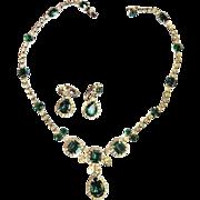 Exquisite Kramer N.Y. Emerald Rhinestone Necklace Bracelet Earrings 50s