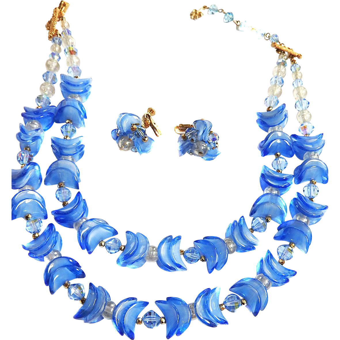 Mouth Watering Periwinkle Blue Vendome Glass Demi Parure
