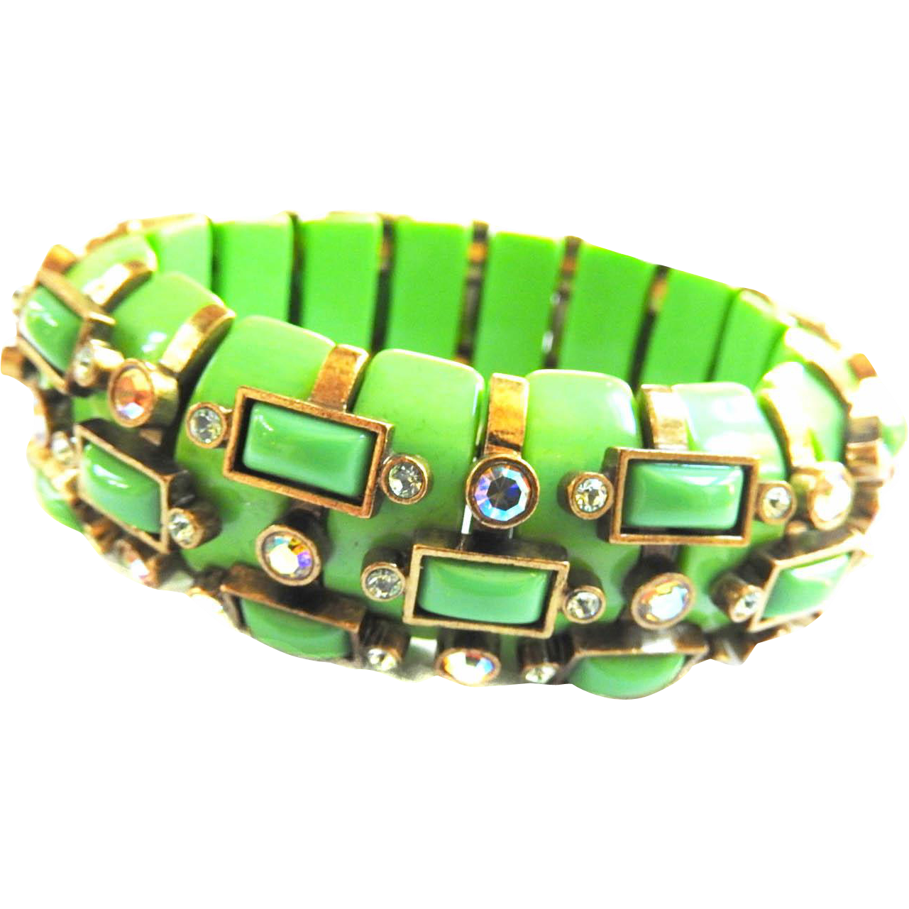 Vintage Apple Green Big Bold Bracelet