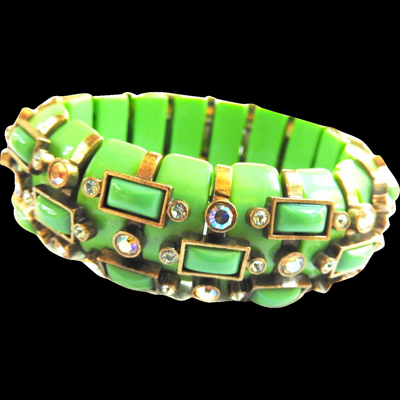 Vintage Apple Green Big Bold Bracelet