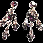 Exquisite Amethyst Chandelier  Vintage 50s Earrings