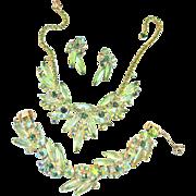 Sultry Juliana Peridot Vintage Necklace bracelet Earrings Parure