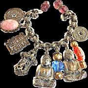 Collectors Huge Buddha Fob Vintage Charm Bracelet Designer Asian Motif