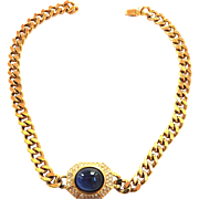 Vintage Ciner Curb Chain Sapphire Glass Necklace