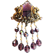 Early 1900s Amethyst Filigree Huge Brooch Faux Pearl Earrings