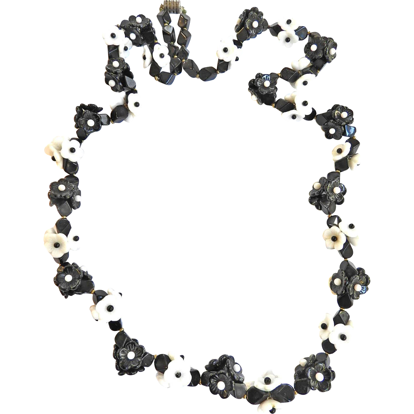 Vintage French Glass Flower Necklace Black and white