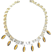 Gorgeous Mexican Sterling Silver Tiger Eye 1940s Necklace