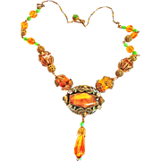 Exquisite Topaz Czech Early 1900s Necklace Must C