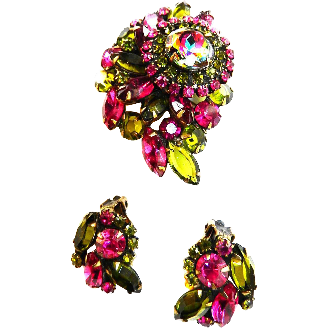 Vintage Olive and Fuchsia  Spectacular    Brooch and Earrings Designer