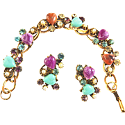Vintage Art Glass Carved Hearts and Rhinestones Bracelet and Earrings Faux Pearls