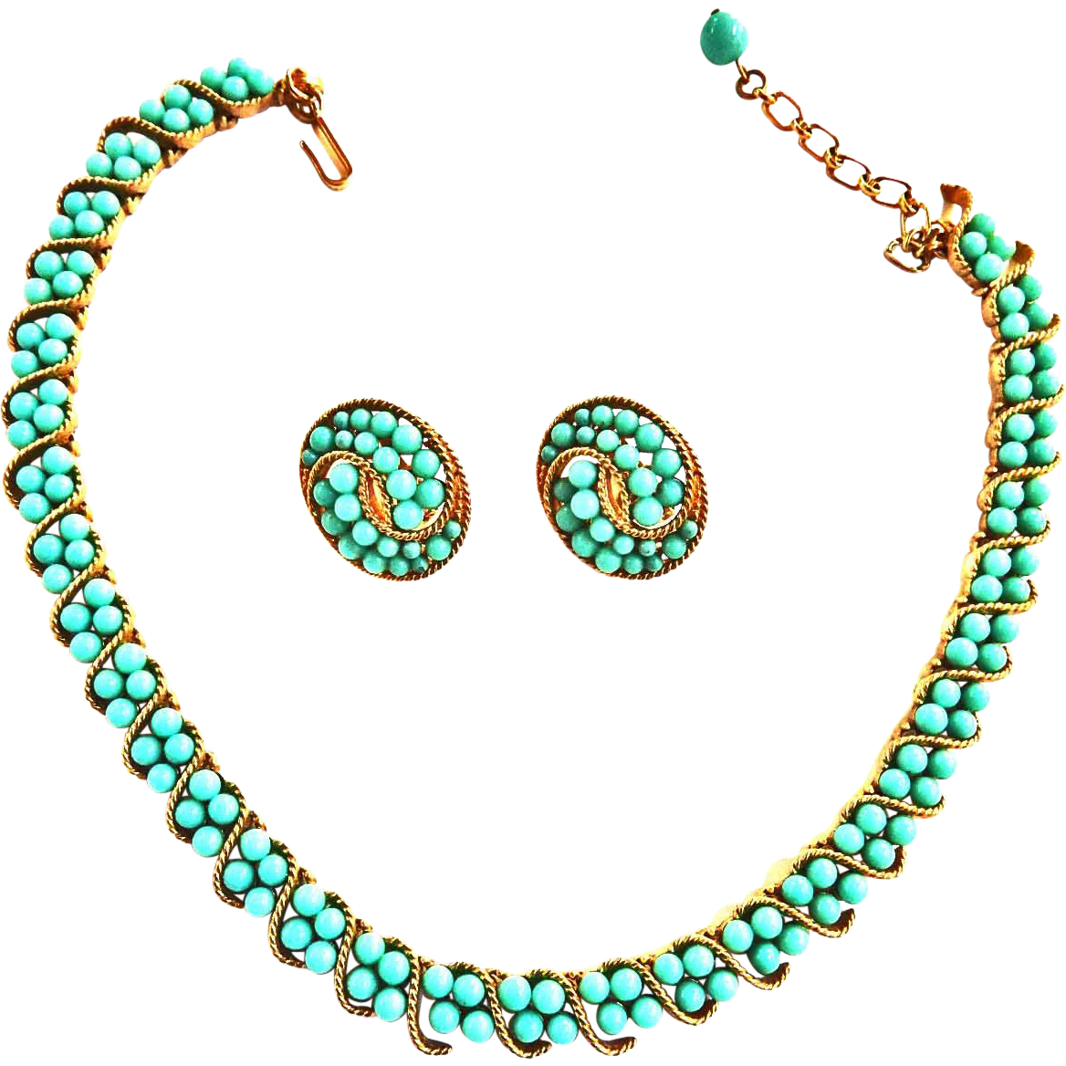 Trifari Crown Samara Collection 1960s Turquoise Set