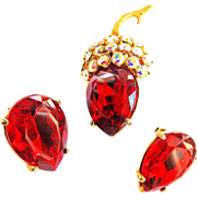 Dazzling Schiaparelli Strawberry Broach and Earrings Vintage