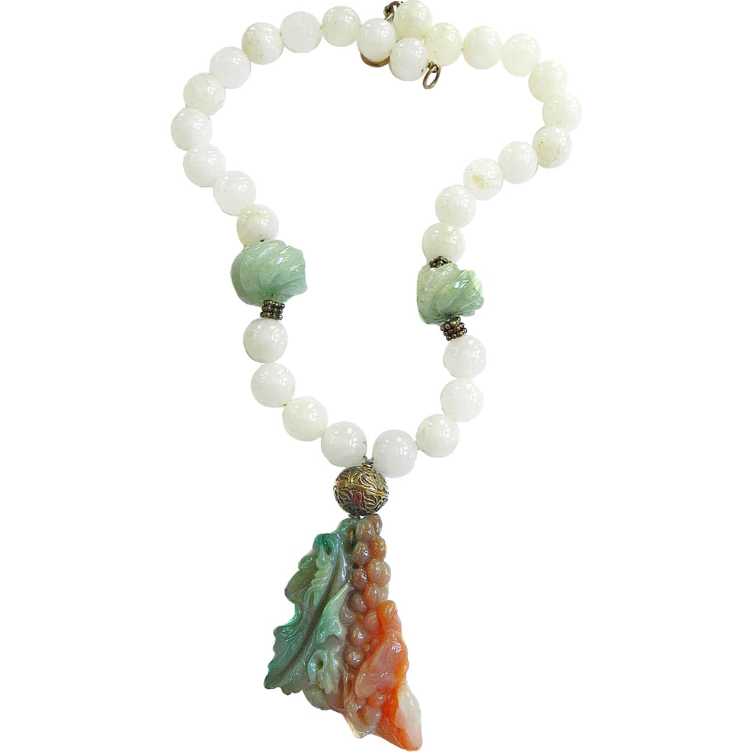Massive Jadeite Grape Pendant Necklace