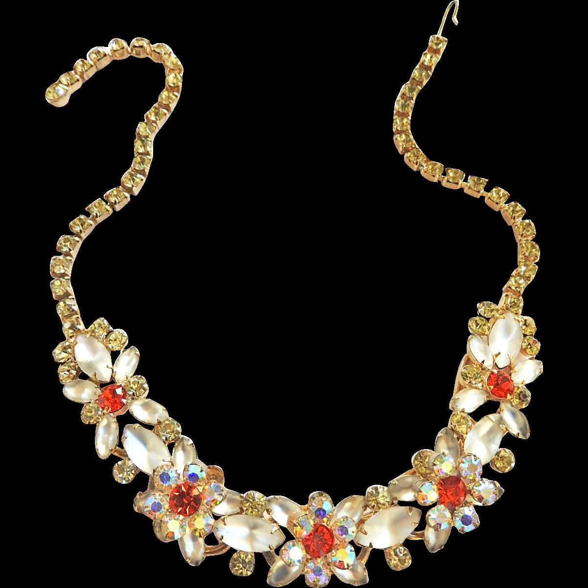 Vintage Juliana Hyacinth and Givre 5 Link Necklace Bracelet Earrings