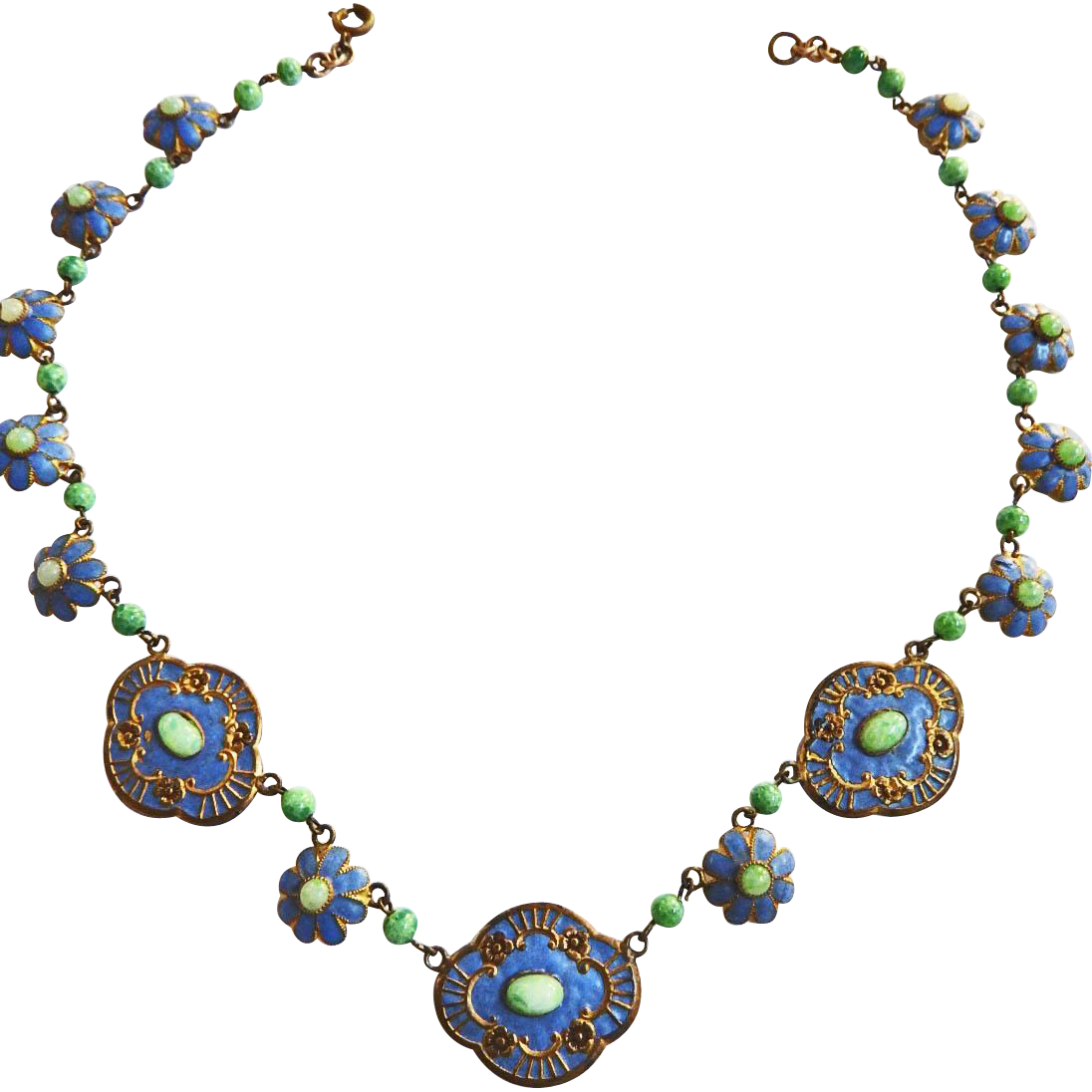 Magnificent Czech Early 1900s Enamel and Gilt Necklace
