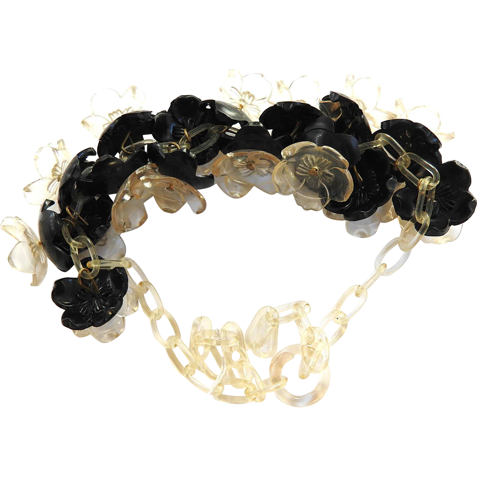Gorgeous Vintage Celluloid Black And Clear Wild Flower Necklace
