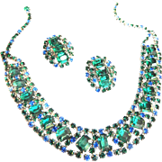 Gorgeous Vintage High End Emerald Green and Sapphire  Blue Rhinestone  Collar and Earrings