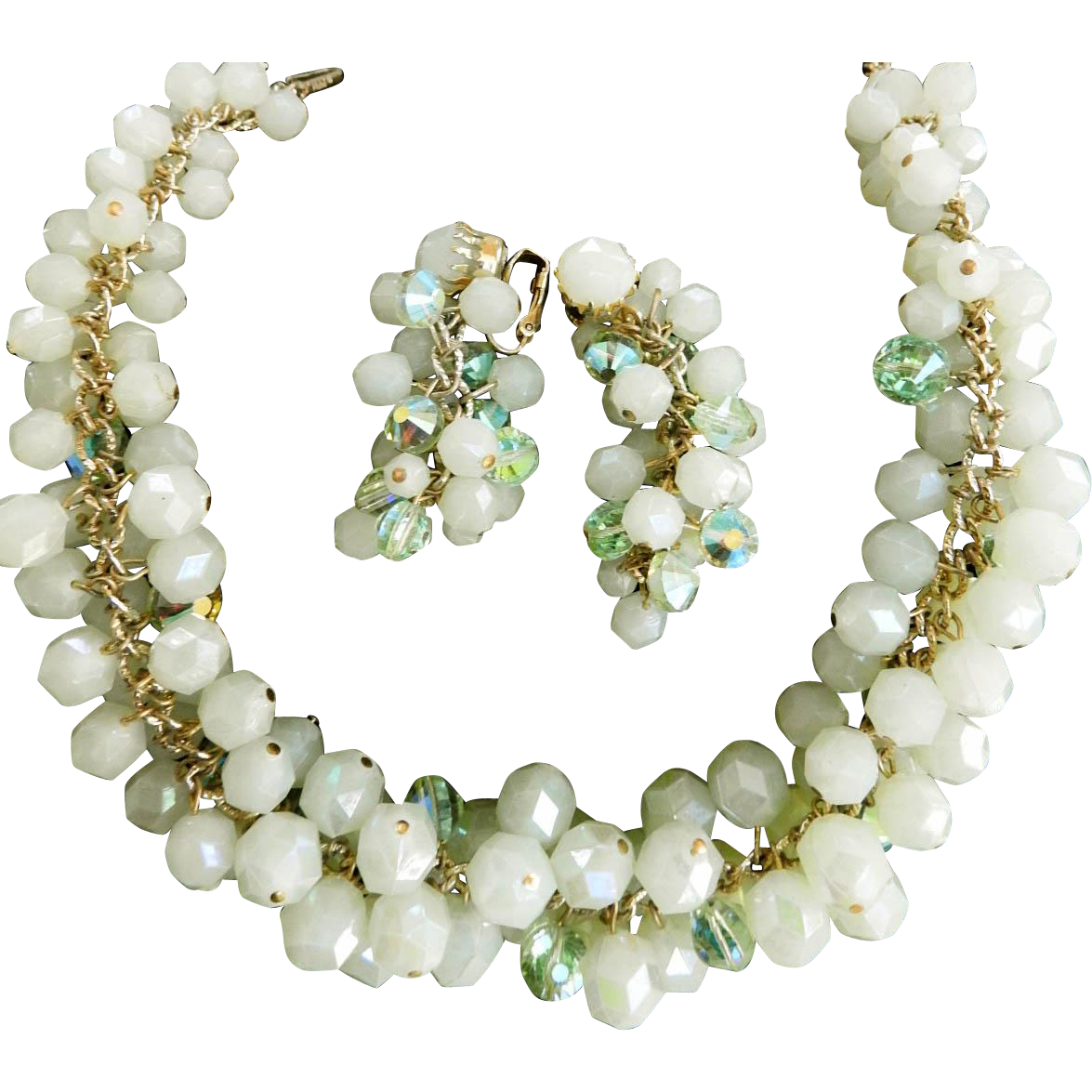 Multi Rows of Mint Crystals Vintage Hobe Necklace and Earrings