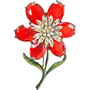 Massive Ruby Red  1930s -1940s Flower Brooch