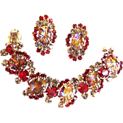 Hard to Find Juliana Red Cat Eye Bracelet and Earrings