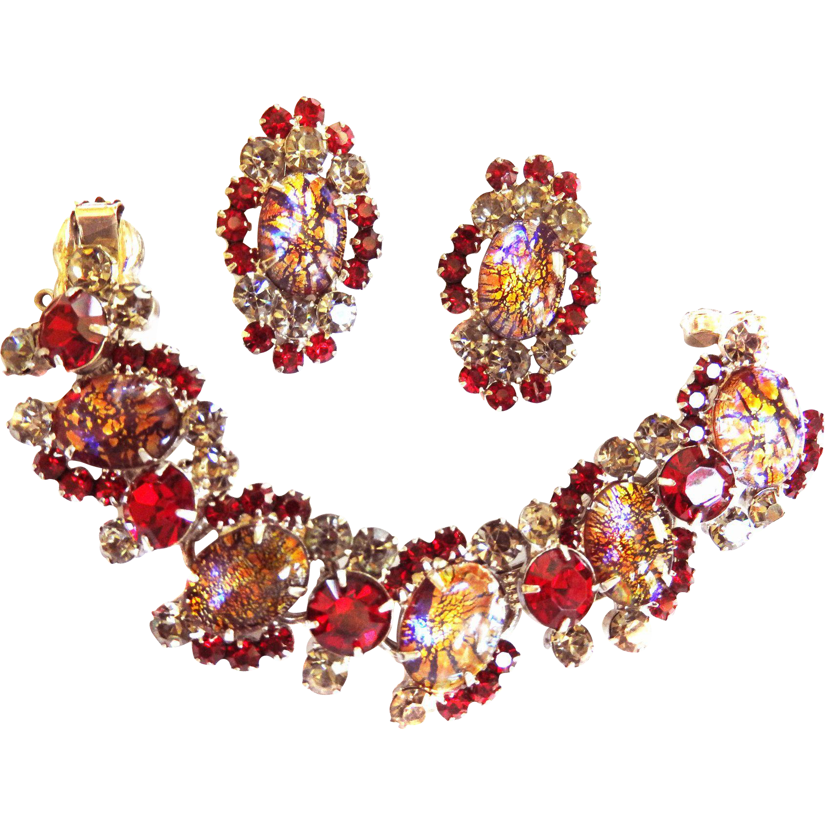 Hard to Find Juliana Red Cat Eye Bracelet and Earrings
