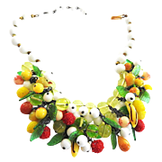 Fabulous Designer Milk Glass and Drippy Fruits Huge Vintage Necklace