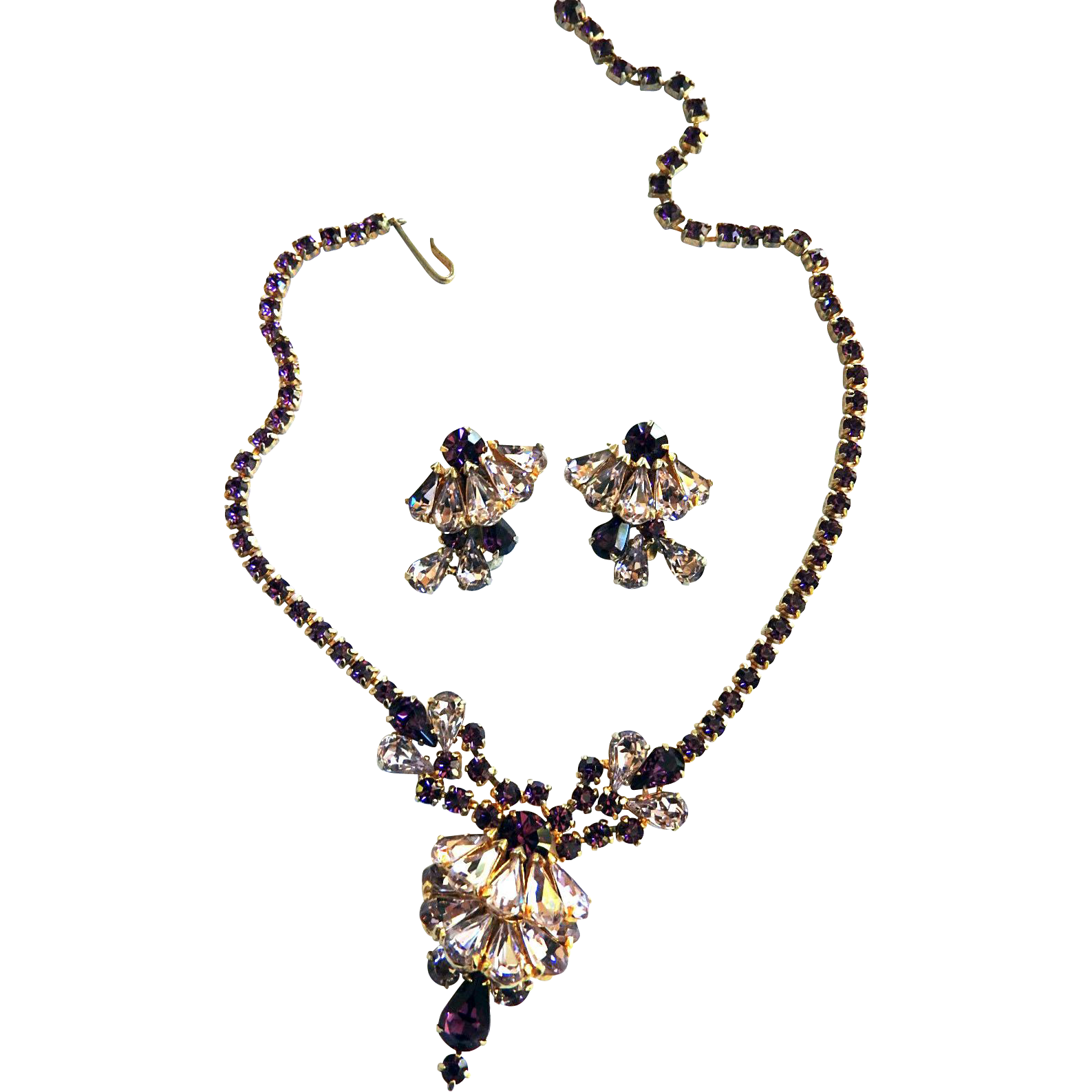 Exquisite Amethyst Layered Designer Necklace and Earrings 50's