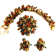 Breathtaking Juliana 5 Link Bracelet Earrings Brooch