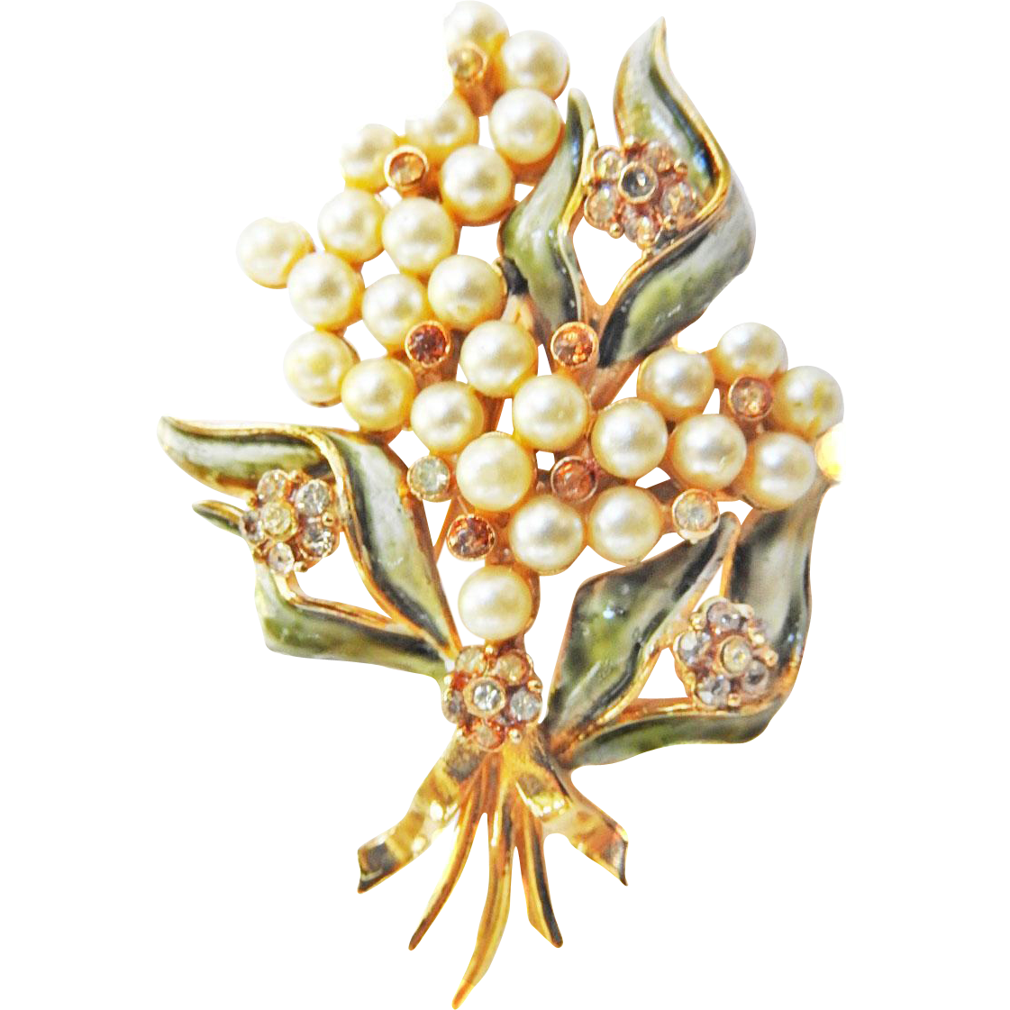 Classic and Elegant Francois Faux Pearl and Enamel Late 1930s Brooch