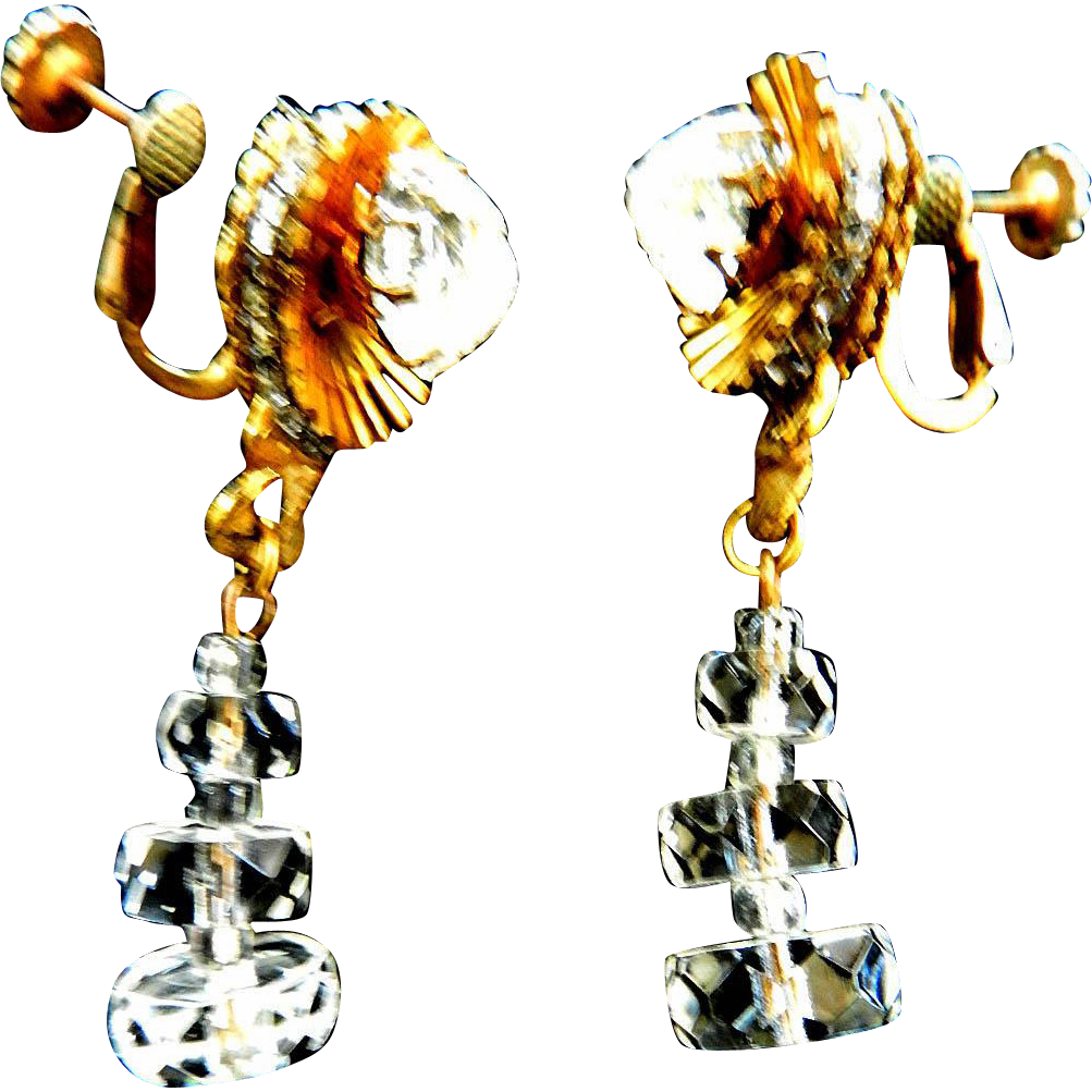 Exquisite Haskell 1940s Ice Cube Drop Earrings
