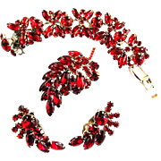 Fabulousn Deep Red Juliana Cabochon Bracelet Earrings Brooch