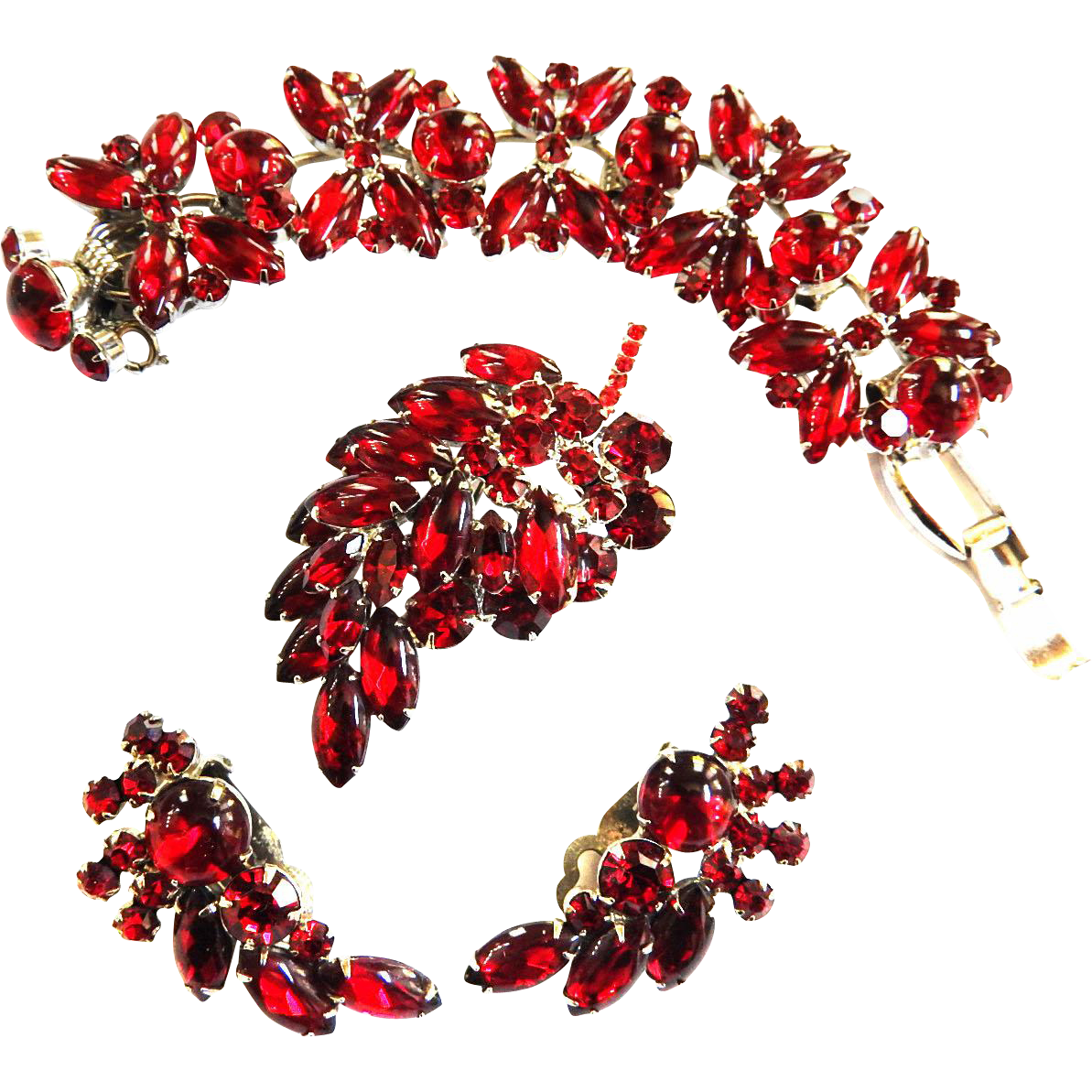Fabulousn Deep Red Juliana Cabochon Bracelet Earrings Brooch
