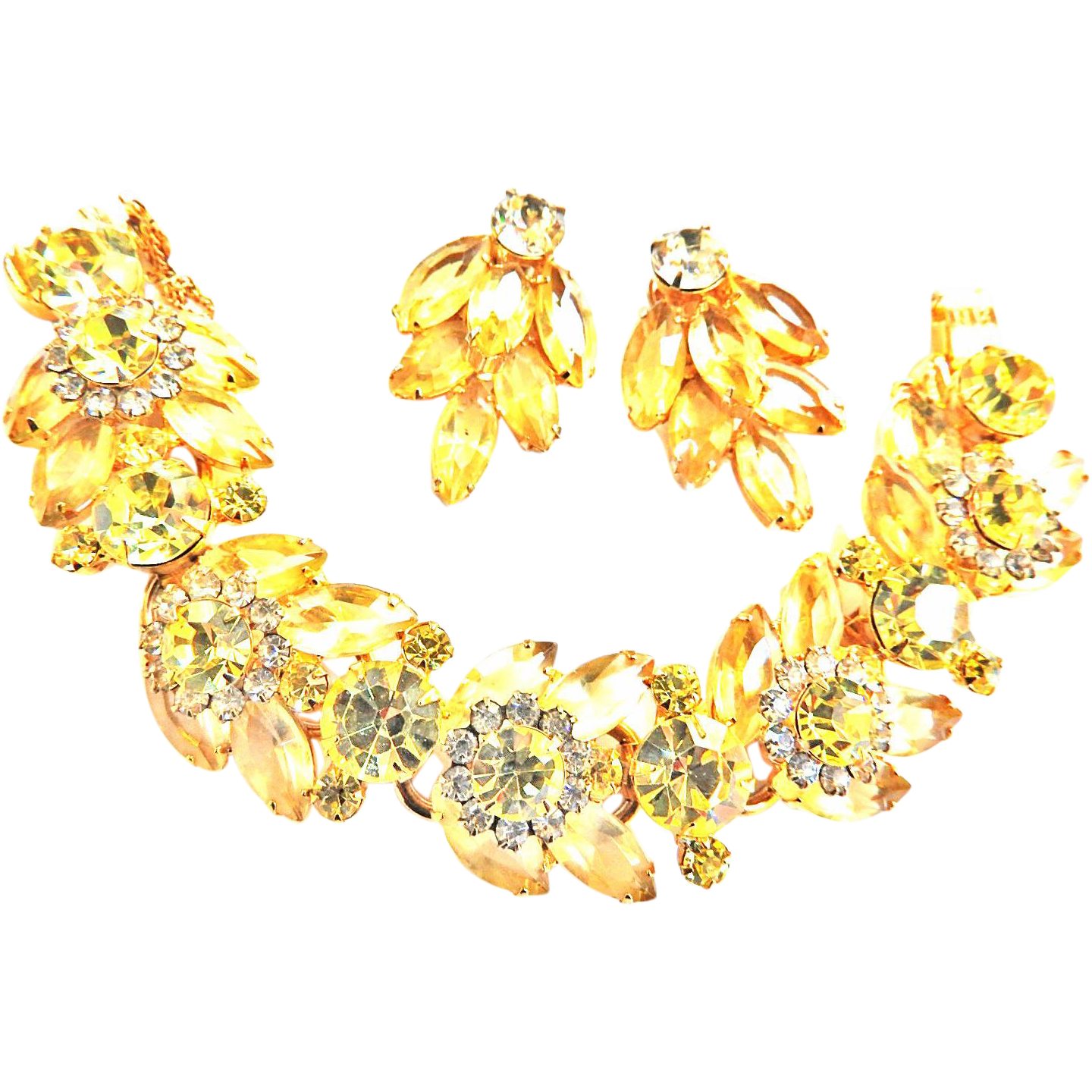 Breathtaking Juliana Jonquil 5 Link Bracelet and Earrings