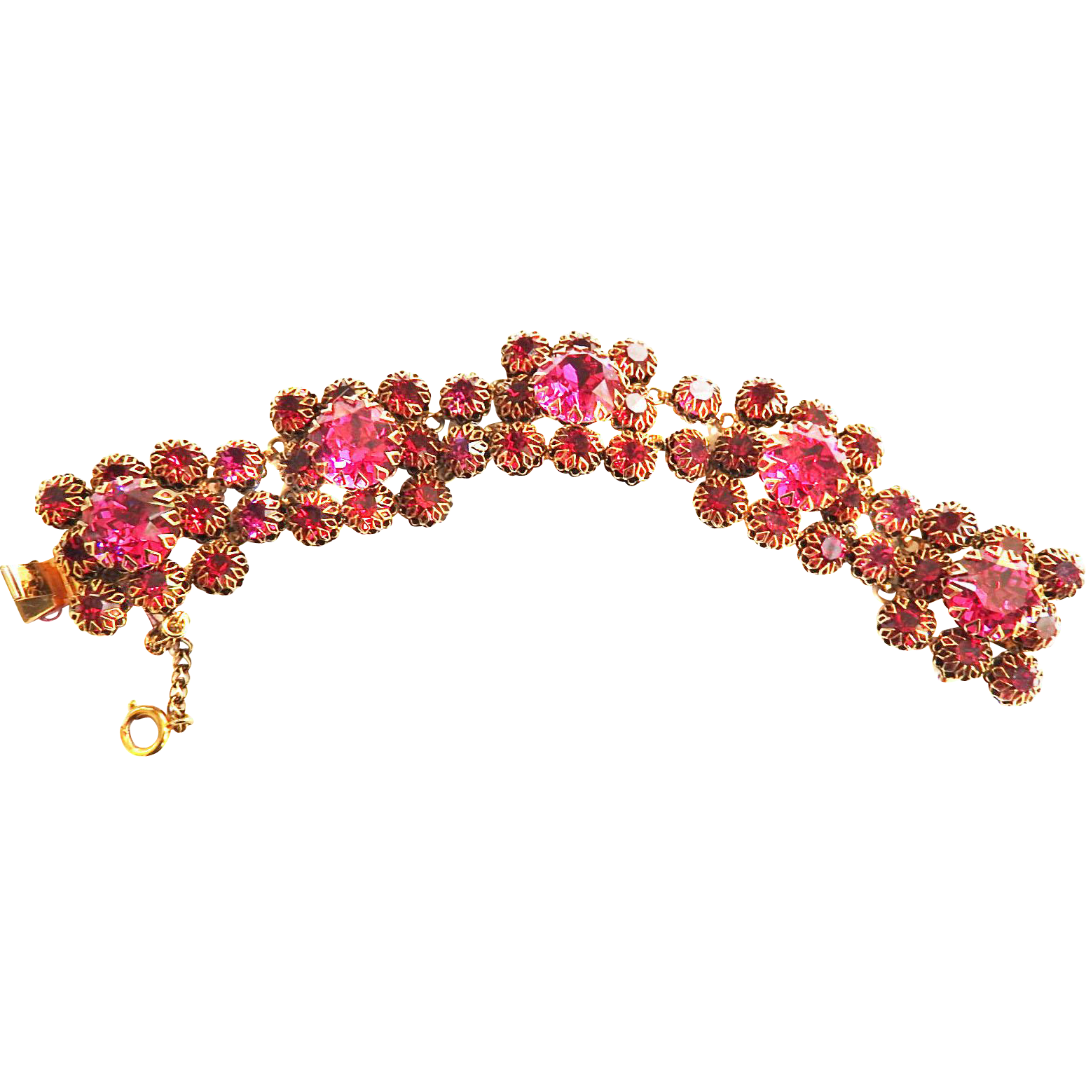 Breathtaking Beauty Fuchsia big Chunky Vintage 50s Bracelet