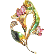 Breathtaking 1940s Designer Enamel and Rhinestone Brooch