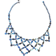 Exquisite Designer D Vee Collar Bib Necklace Montana Blue 50s