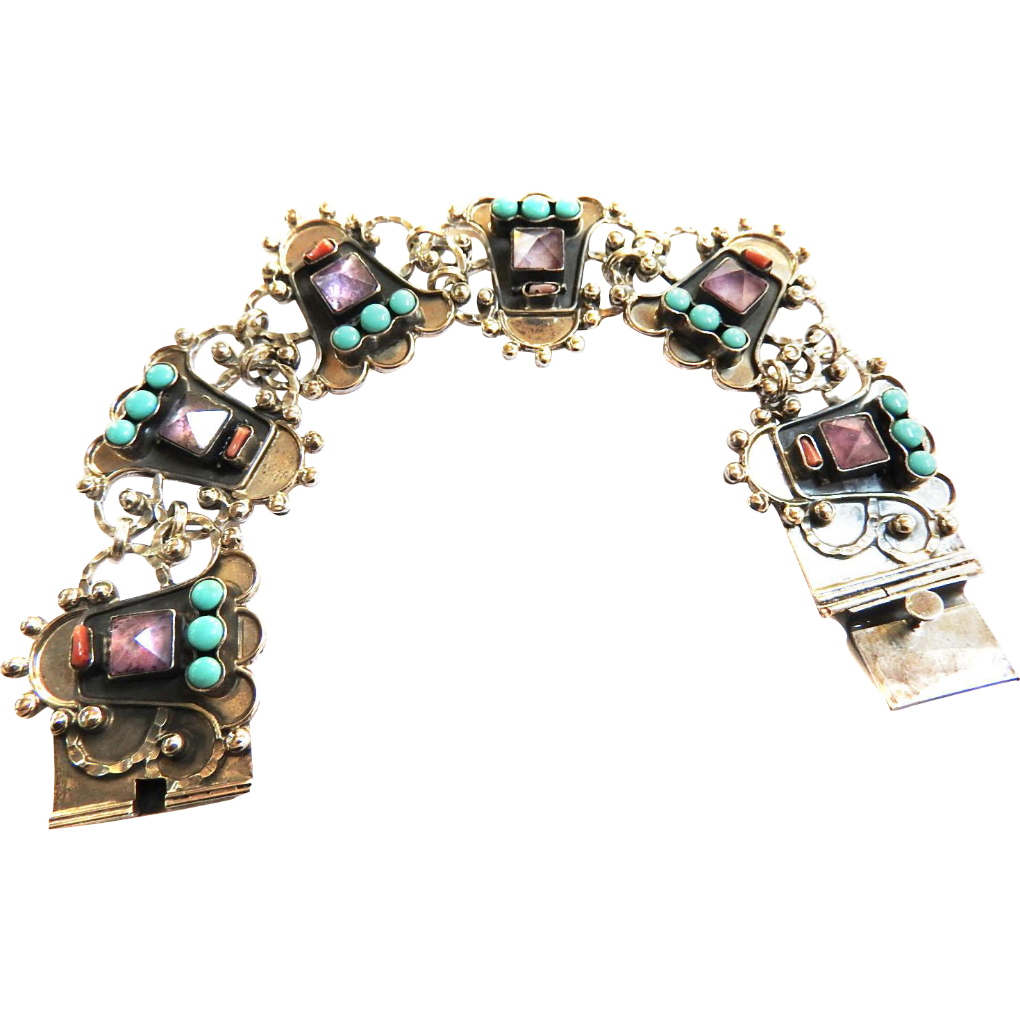 Spectacular Mexican Turquoise Coral Amethyst Panel Vintage Bracelet